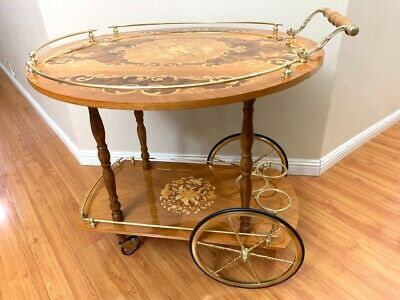 Vintage Italian inlaid Marquetry Wood Serving Bar Tea Cart Drop Leaf