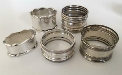 Sterling silver napkin ring collection.  5 interesting smaller napkin rings