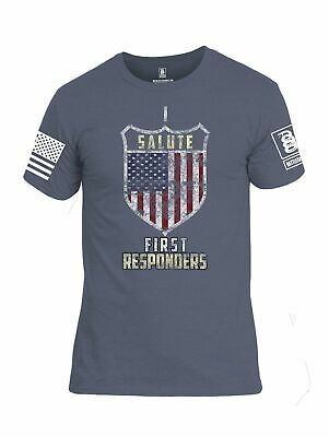 Battleraddle I Salute First Responders White Sleeve Print Mens Cotton Crew Neck