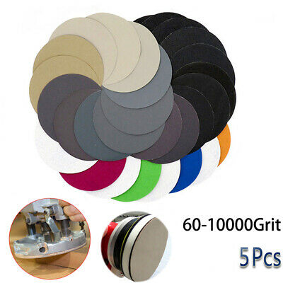 5PCS 5''Hook and Loop Sanding Disc 60 - 10000 Grit Wet or Dry Sandpaper PaTS