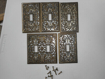 5 Vintage Ornate Filigree Brass Single Gold Light Switch Covers Single Double