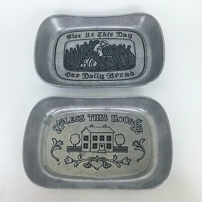 2 Wilton Armetale Pewter Trays Bless This House Lord's Prayer Daily Bread RWP