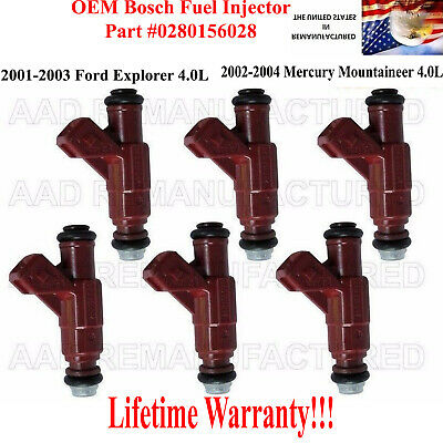 BRAND NEW SET OF 6 FUEL INJECTORS FOR FORD EXPLORER 4.0L 0280155734