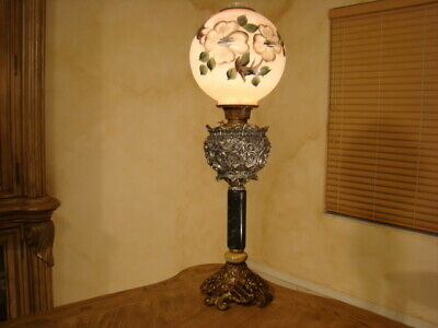 Amazing Old Victorian Parlor Banquet Hurricane Lamp