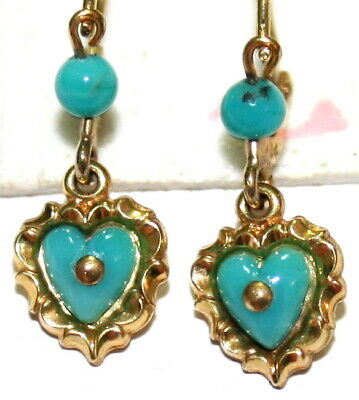 TURQUOISE ANTIQUE VICTORIAN 9K GOLD HEART LOVE SMALL FINE DANGLE EARRINGS c1900