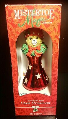 Nib Vintage Mistletoe Magic Collection Hand Blown Christmas Bear Glass Ornament