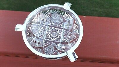 Black Starr and Frost Sterling Silver & American Brilliant Cut Crystal Ashtray