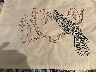 Embroidery - Hand Worked Australian Black Cockatoo