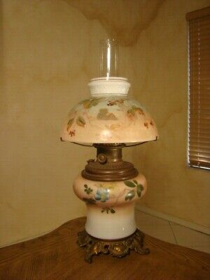 Old Gone Of The Winds Victorian Hurricane Glass Lamp