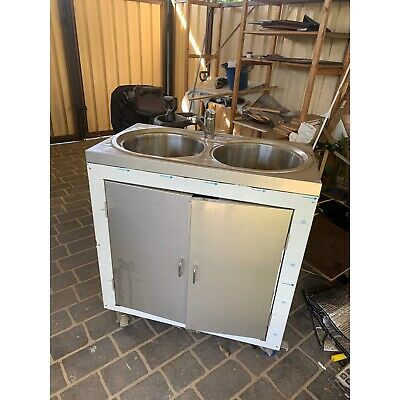 dual sink stainless steel water cabinet for commercial or domestic use