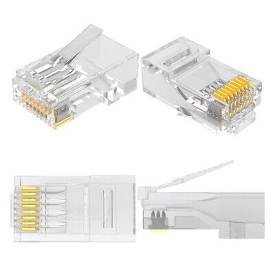 RJ45 Plug 8P8C RJ45 UTP CAT6 CAT5 PLUG LAN Ethernet Gold Plated Connectors 50pcs