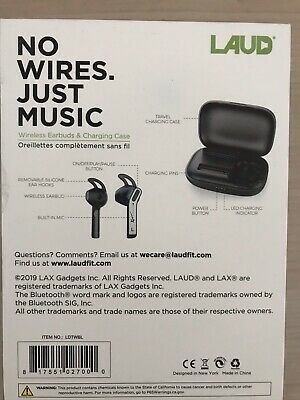 LAUD Wireless Bluetooth Earbuds & Charging Case - No Wires Just Music - Black