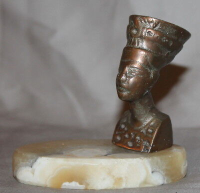 Vintage Small Egyptian Nefertiti Copper Statuette With Marble Base