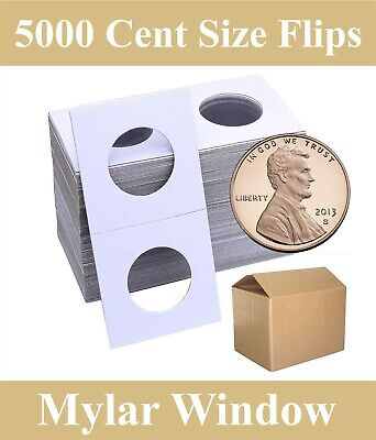 2x2 Mylar Window Cardboard Coin Flips Cent Penny Size 5000 HECO Archival Holders