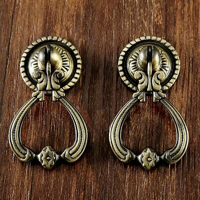 AU 2x Vintage Cabinet Drawer Pull Knobs European Antique Brass Door Drop Handles