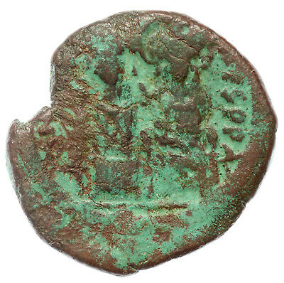 Byzantine Brozne Coin Half Follis Justin And Sophia Thessalonika Reign  Year 7