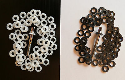 Black/White Nylon Tension Screw/Rod Washer for Drum Kits and Snares 1.6mm Thick