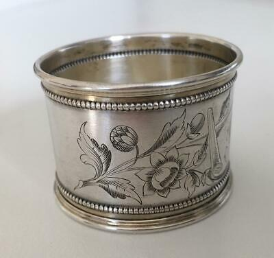 Beautiful very ornate Continental Sterling silver napkin ring with beaded edges