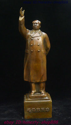 China Pure Bronze Great ideologist statesman Leader Mao Ze Dong Chairman Statue