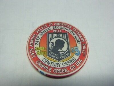 #18  Casino Chip} Century Casino- Central City Colorado- Pow Mia Rare