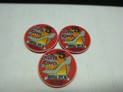 #44 Casino Chip} Silver Slipper Casino- Central City Co- Lot Of 3-Inaugural Edit