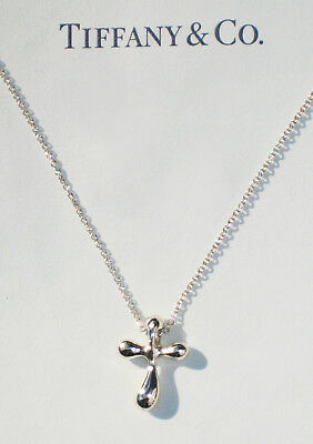 Tiffany & Co Elsa Peretti Sterling Silver Cross 18 Inch Necklace