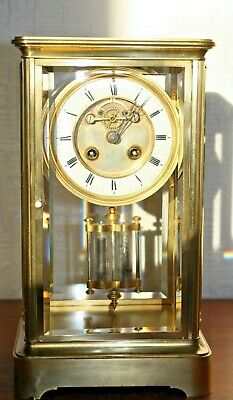 !9 C French Four Glass Mantel Clock