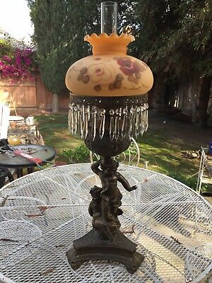 NICE Vintage Victorian L&L WMC Cherubs Oil Parlor Table Lamp Gone with the Wind