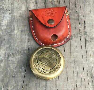 Antique Brass Pocket Compass Handmade Leather Case Nautical Working Compass Gift