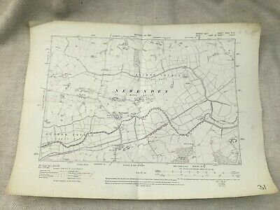 1910 Antique Map of East Sussex Kent Newenden Rother Levels