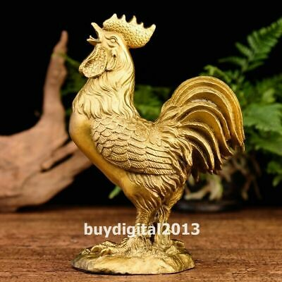 brass copper Chinese Zodiac Wealth Fengshui animal chicken cock rooster statue