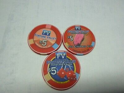 #9  Casino Chip} Fortune Valley Casino- Central City Colorado-  Lot Of 3