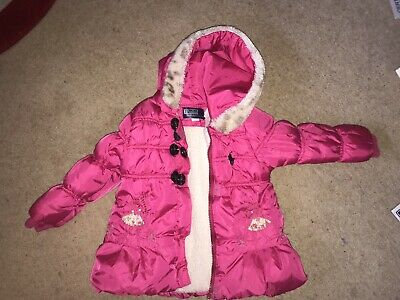 Ralph Lauren Girl's Bright Pink Puffa Jacket Fur Lined 3-4 Years Hooded Sequin
