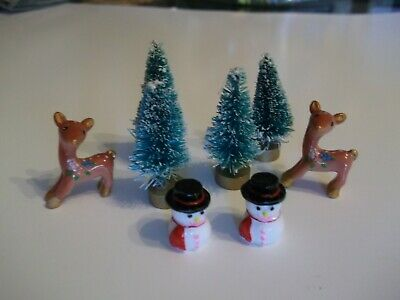 Mini Christmas Sisal Bottle Brush Tree Miniatures Deer Snowman Dollhouse Crafts