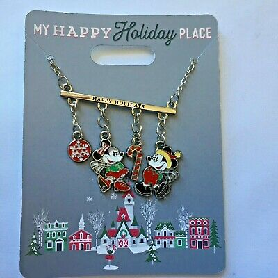 Disney Parks 2019 My Happy Holiday Place Necklace Christmas Mickey Minnie NEW