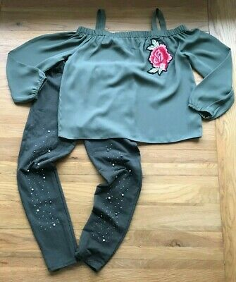 Girls Outfit Age 11-12 Years (Khaki Embellished Leggings & Cold Shoulder Blouse)