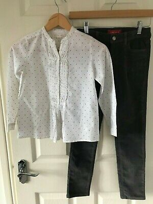 Zara Girls Outfit/Bundle Age 8 - Grey Skinny Fit  Cords & White Spotty Blouse