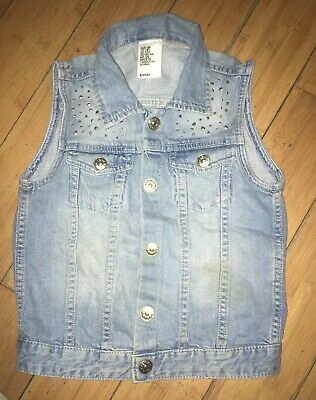 Girls Denim Sparkly Gilet By H&M Age 7-8