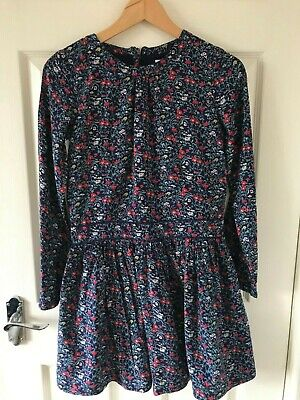 John Lewis Girls Dress Age 12 - Long Sleeve Blue Floral Drop Waist