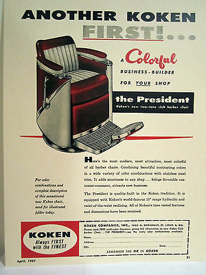 Vintage Original 1950'S KOKEN PRESIDENT TWO TONE CLUB Barber Chair Color Sign/Ad