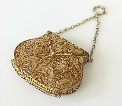 Fine Antique Victorian Silver Gilt Filigree Chatelaine Purse- Gold Vinaigrette
