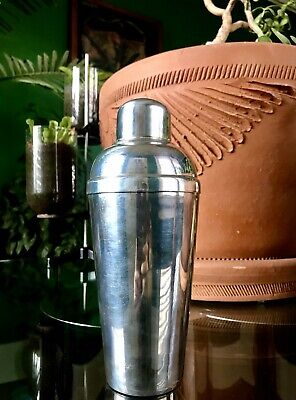 Vintage 1920's Silver Plated Cocktail Shaker Silver Over Brass - Art Deco