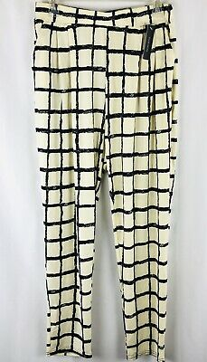 Chandly Women's Pants Size L Pullon Elastic Waist Pockets Stretch Squares