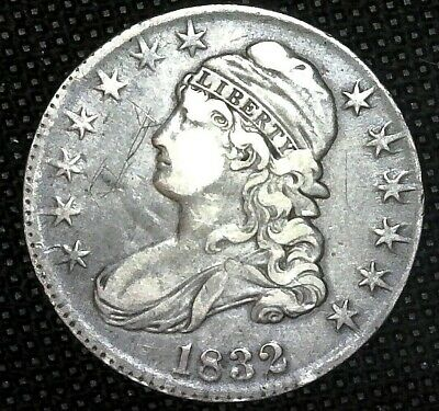 1832 Large Letters Capped Bust Half Dollar 50c Silver US COIN OFFSET RIM/EDGE