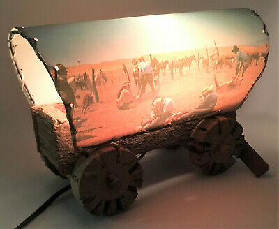 1950s Rare Vintage Cowboy Covered Wagon Nighlight Lamp - Light Works Very Cool!