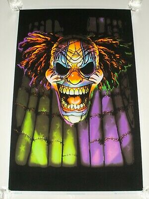 "EVIL CLOWN FACE Scary Black Light Poster Flocked 2007 Black Ball Corp 23"" x 35"""