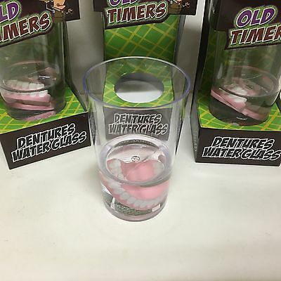 A Set of 3 x Old Timers Dentures Water Glass, Novelty,