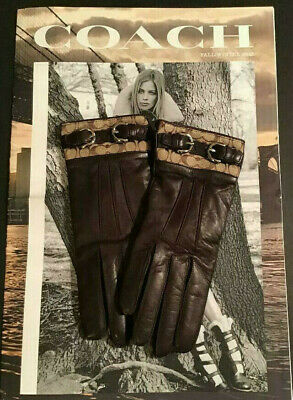NEW Coach Brown Leather Signature Cuff Cashmere Lined Driving Gloves SZ 6.5 $138