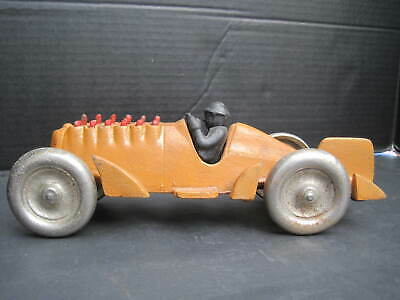 """Antique Vintage Hubley Cast Iron Toy 10"""" Race Car Moving Pistons Reproduction"""