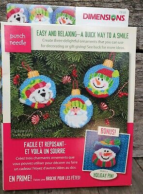 Punch Needle Kit DIMENSIONS 3 Ornaments 1 Pin Holiday Smiles Christmas friends